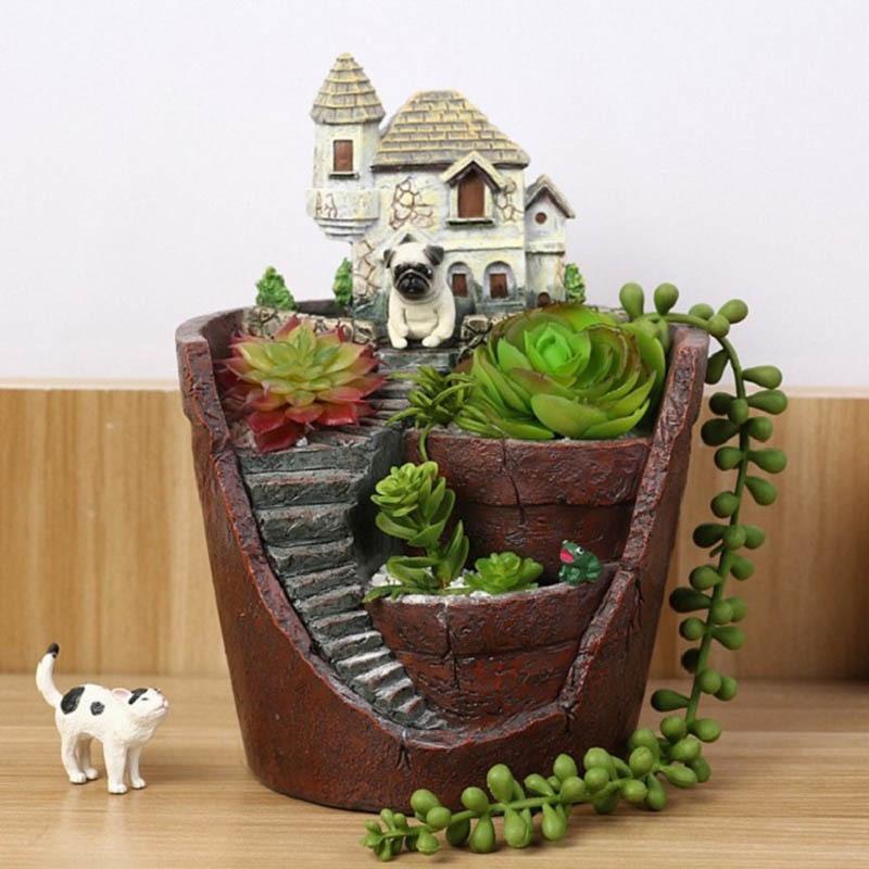 1Pcs New Novelty Creative Castle House Shaped Resin Garden Pot Creative Bonsai Plant Flower Pot For Office Desk Decorations