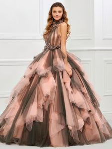 Image 1 - 빈티지 핑크와 블랙 두 톤 1950 s 컬러 웨딩 드레스와 컬러 프릴 tulle 볼 가운 고딕 웨딩 드레스