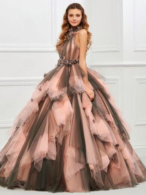 빈티지 핑크와 블랙 두 톤 1950 s 컬러 웨딩 드레스와 컬러 프릴 tulle 볼 가운 고딕 웨딩 드레스