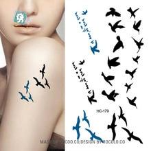2pcs/lots Small Fresh English Flying Birds Tattoo Tattoo Stickers HC1179 Waterproof