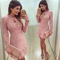 Chegam novas vestidos mulheres moda lace casual dress 2016 o-pescoço manga rosa vestidos de festa à noite vestido de festa brasil tendência