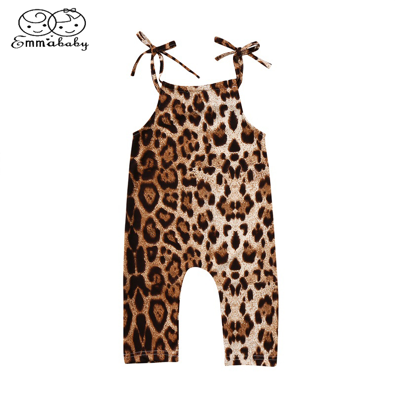 Afunbaby Toddler Kids Baby Girls Strap Romper Jumpsuit Leopard Ruffle Sleeveless Shorts Overalls Summer Outfits Clothes