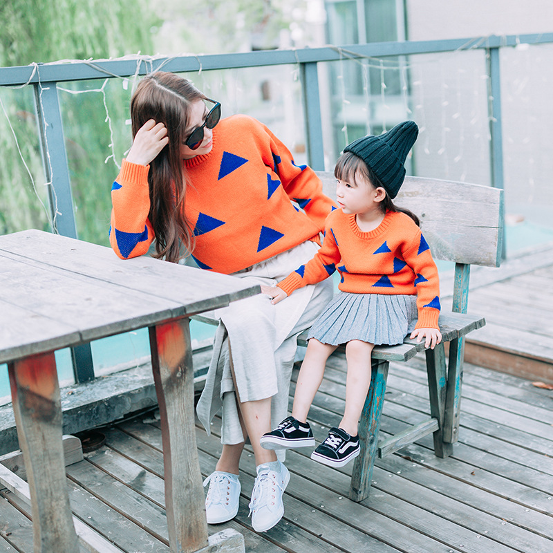 2017 Parent child Outfits Family Look Sweaters Family Matching Outfits Mother kids Knit Shirts for Mother