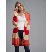 Sweater Cardigan Womens Knitting Casual Winter Rainbow Contrast Color Patchwork Long for Women Clothes E1929