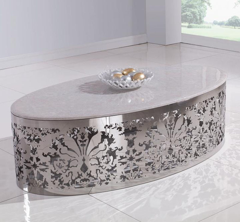 Stainless Steel Metal Coffee Table Round Glass Coffee