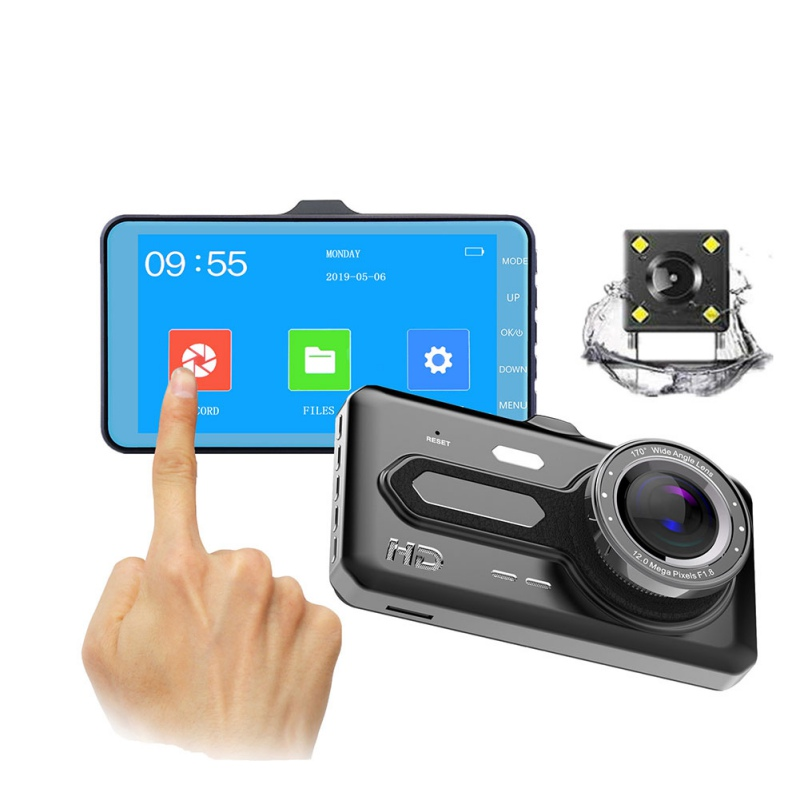 Car DVR Driving-Recorder Switching Car-Camera Touch-Screen Multi-Language 1920--1080p