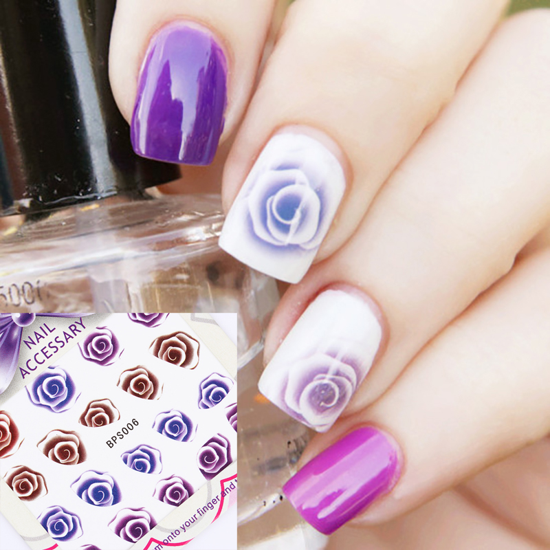 Rose Image Nail Water Decals Sticker Transfer Stickers Charming Fantastic Flower Pattern Y037 Nail Art Decorations 1pcs water nail art transfer nail sticker water decals beauty flowers nail design manicure stickers for nails decorations tools