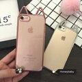 Chapeamento de qualidade superior 3d gato bonito ouvidos fundas casos de telefone para apple iphone 6 6 s s mais 6 mais 7 7 Mais macio TPU Tampa Da Caixa Clara