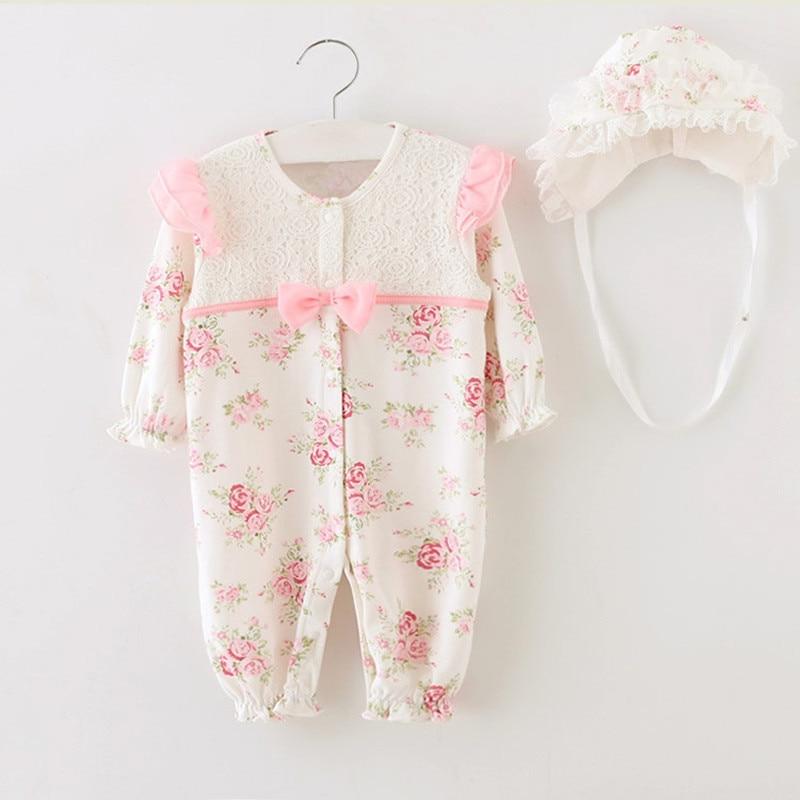 Prinsessan Nyfödd Baby Tjej Kläder Barn Blommigräd Rompers + Mössor Flickor Kläder Satser Infant Jumpsuit för Födelsedagspresenter