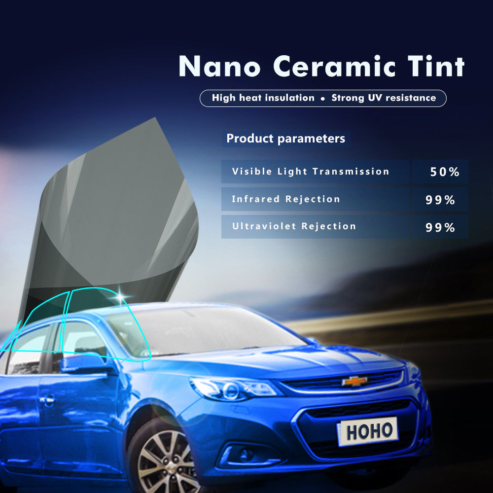 Auto Car VLT50% Improve Privacy Window Film 99% UV Proof High Heat Insulation Nano Ceramic Solar Tint Film PET Foils 1.52x3mAuto Car VLT50% Improve Privacy Window Film 99% UV Proof High Heat Insulation Nano Ceramic Solar Tint Film PET Foils 1.52x3m