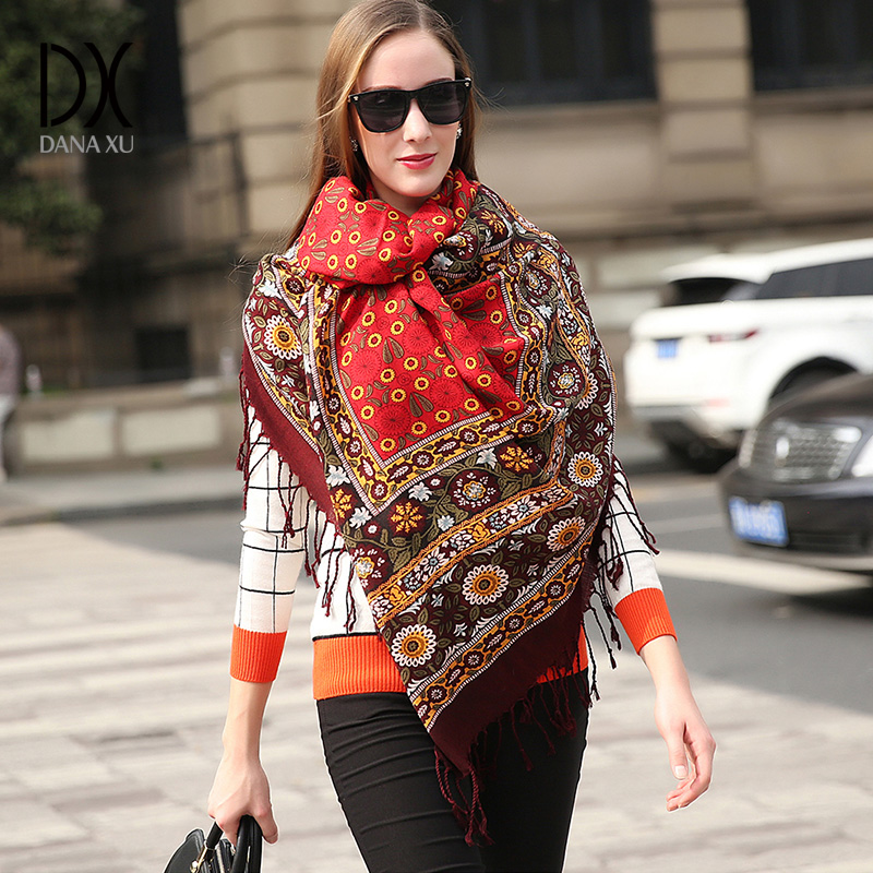 2019 New Fashion Brand Winter Scarf For Women Scarf 245 *110 Cm Large Luxury Women Wool Scarf Warm Cashmere Shawls And Scarves