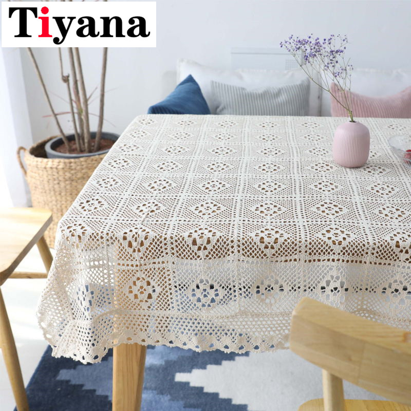 White Lace Crocheted Tablecloth Cotton Rectangle Table Cloth Home Hotel Textile Decor SC011D3