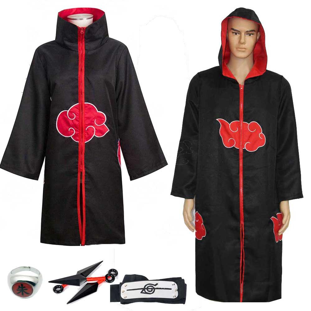 Anime Naruto Cosplay Costume Akatsuki Uchiha Itachi Shuriken Cloak Robe Headband Halloween Magic Robe Costumes
