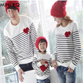 New 2015 Fashion Family Pack Set Father and Son Cotton T-shirt Clothes Mother and Child Matching Striped T shirt Tops
