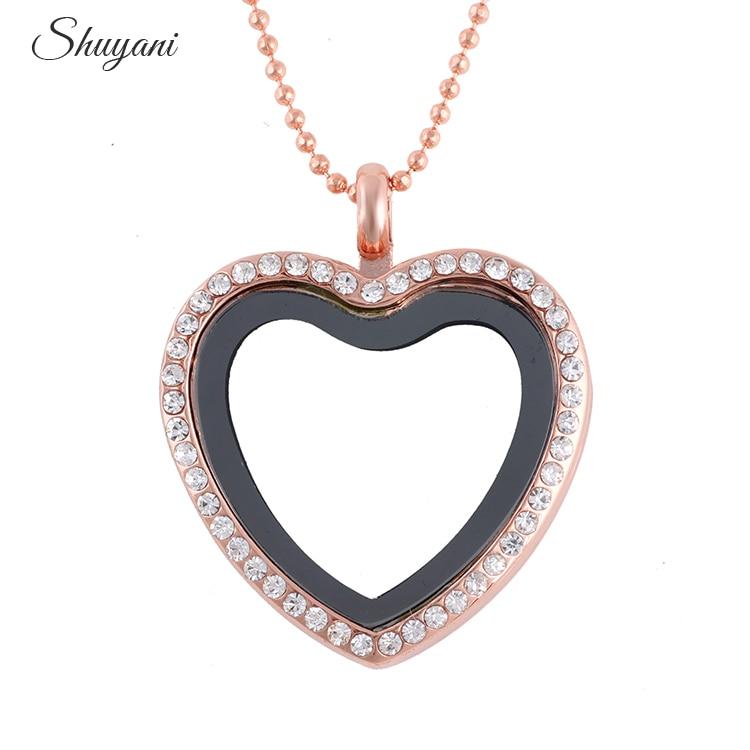 10pcs/lot Rhinestone Alloy Heart Floating Locket Necklaces & Pendants - Fashion Jewelry - Photo 2