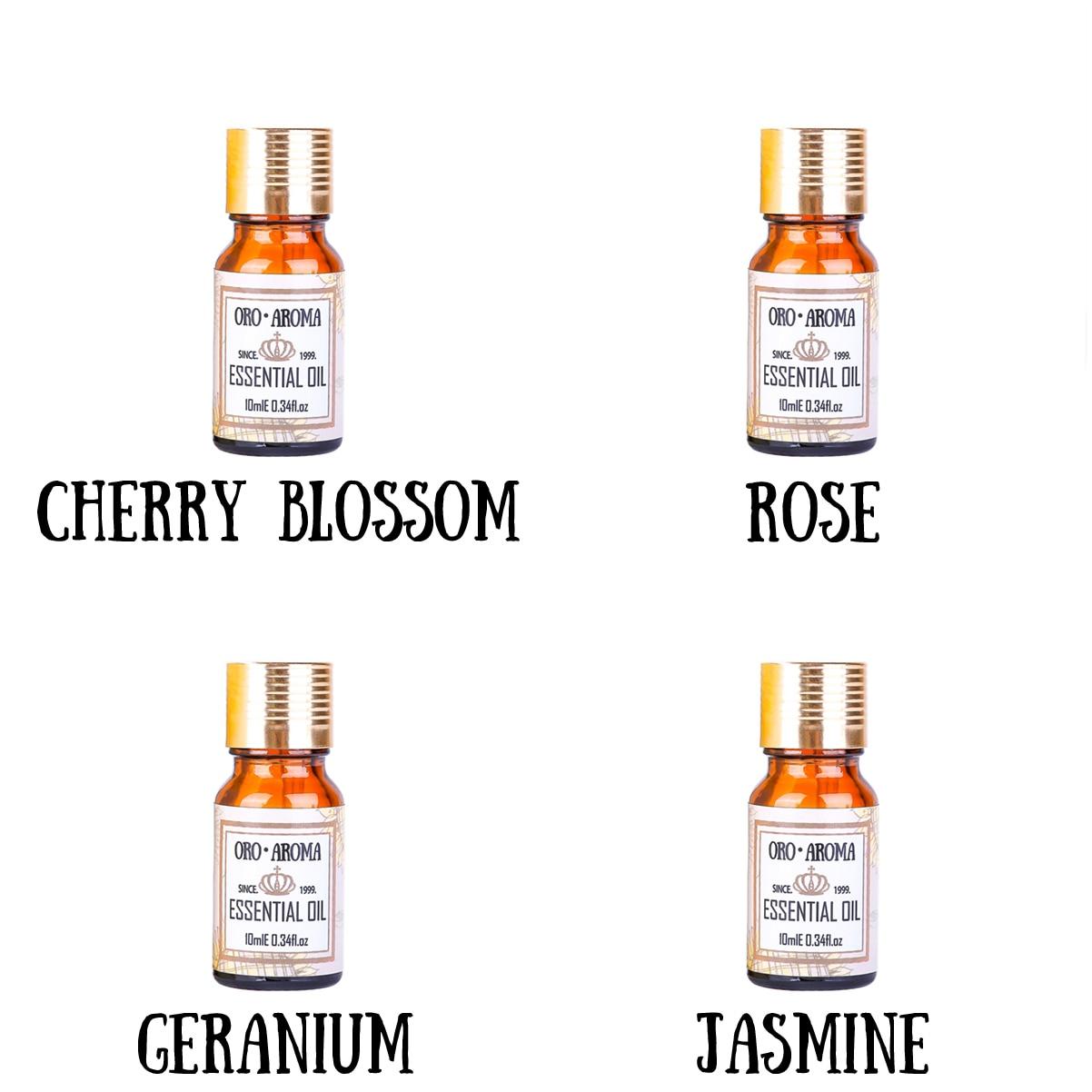 Famous brand oroaroma Cherry blossom rose geranium jasmine essential oil Essential Oils Aromatherapy, Massage,Spa, Bath 10ml*4