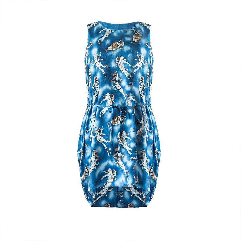 M Réservoir L Crêpe S Soie Satin Pur Livraison Femmes Été 100Mûrier Impression Robes Gratuite Dress c54R3jLqA