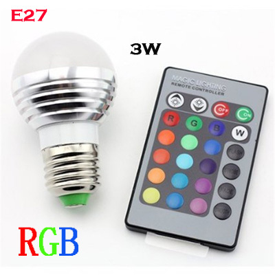 3W RGB Bombillas LED Lamp Dimmable AC 85V-265V Lampada LED E27 Luz 220V Lamparas Spotlight With IR Remote Control Bulb light
