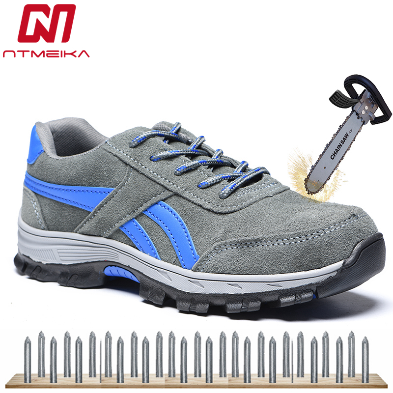 Plus Size 36-46 Cow Suede Men Work Safety Shoes Steel Toe Protective Footwear Fashion Causal Work Safety Boots Men Work Shoes