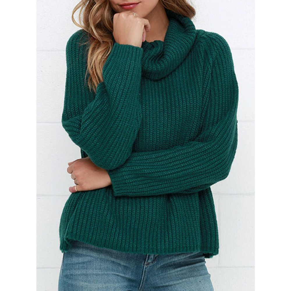 Clothink Women Autumn Winter Dark Green Cowl Neck Knitted Pullover