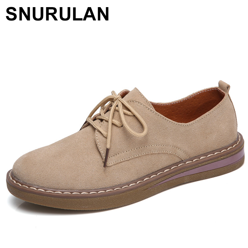 SNURULANCow   Suede     Leather   women Flats oxford shoes Spring Ladies sneakers Loafers Casual Shoe 2018 Moccasin PlusSize Autumn E491