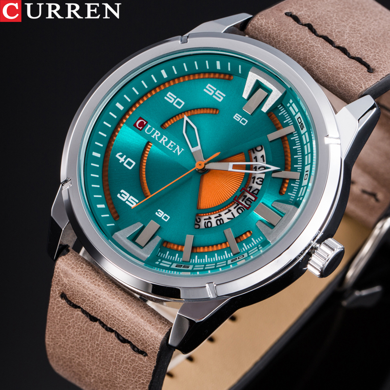 CURREN Men Watch Top Brand Luxury Sport Mens Watches Military Army Business Leather Band Classic Wrist Quartz Male Clock curren watches men top brand luxury wrist quartz watch military army casual men s steel clocks male men sport classic clock