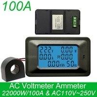 Numérique AC Tension Mètres 20/100A/80 ~ 260 V Puissance D'énergie analogique Voltmètre Ampèremètre watt actuel Ampère voltmètre LCD Moniteur à Écran