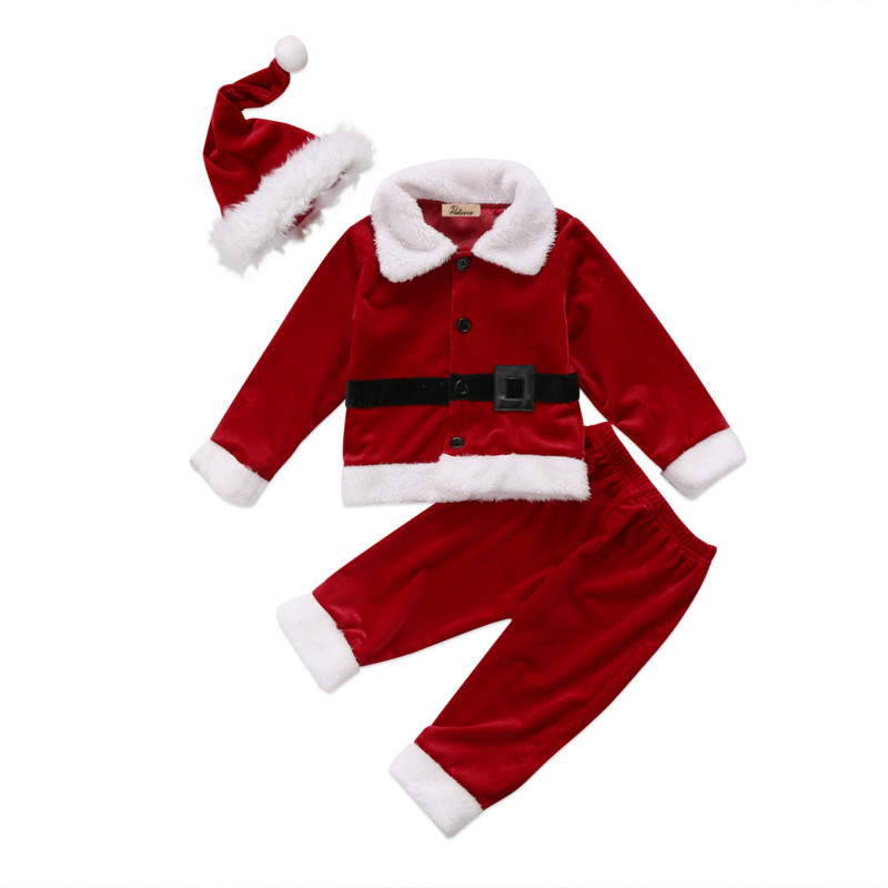 6c72f9875 Christmas Newborn Kids Baby Boys Girls Xmas Clothing Costome Toddler Infant Velvet  Dress T-shirt Long Pants Outfits Clothes 0-4Y
