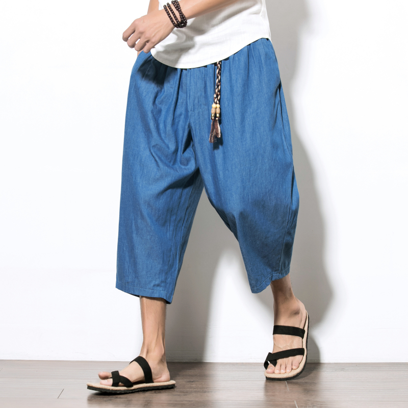 LEFT ROM 2018 fashion men's leisure Wide-legged pants /high-grade men comfortable loose Seven points Wide-legged pants