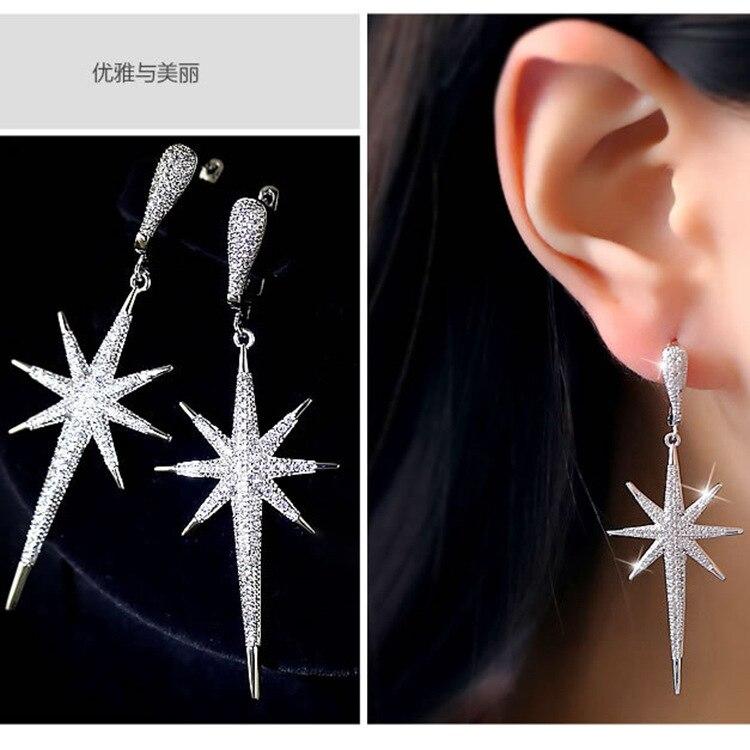 Star earring personality ear Jewelry zircon temperament long dangle drop earrings in Drop Earrings from Jewelry Accessories