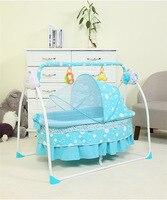 2018 новые детские Колыбели кровать Электрический складной новорожденных кровать с Сетки от комаров синий/розовый детская спальная корзина