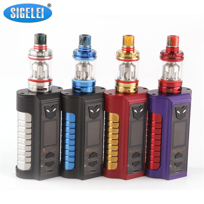 Original Sigelei MT Starter Kits 220w TC Box Mod with Revolvr Tank Dual 18650 Top Adjustable LED light Electronic Cigarette kit боксмод sigelei fuchai 213w tc blue силик чехол