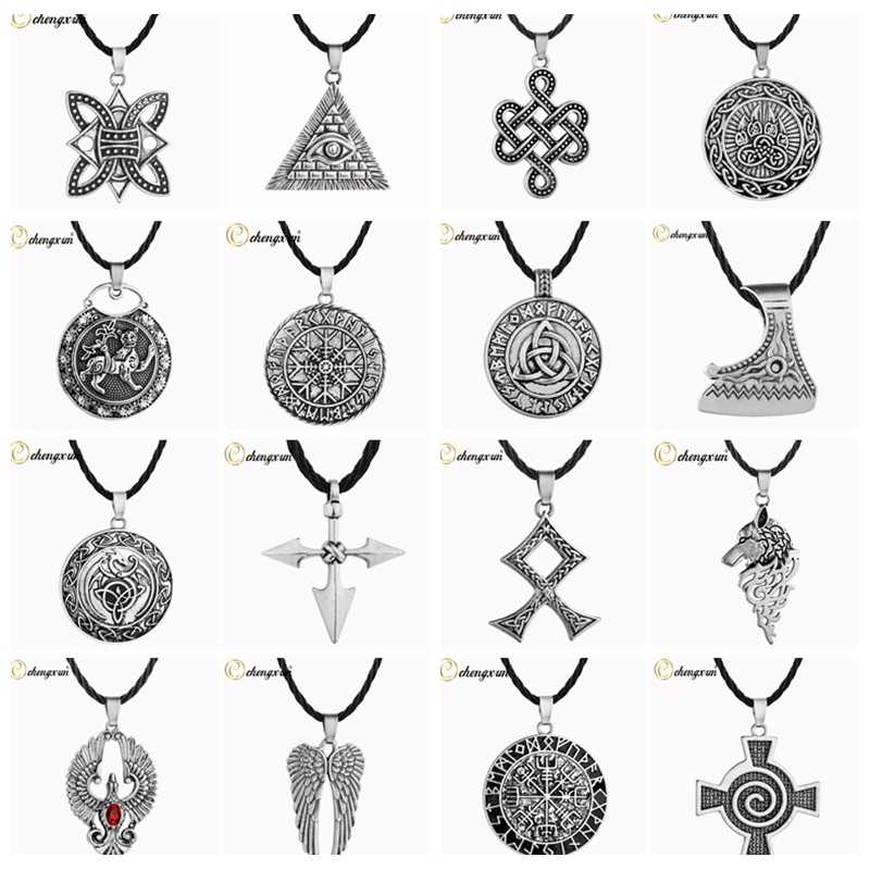 CHENGXUN Multiple Men Necklace Viking Odin Symbol Helmet Horror In Rune Braided Borre Knot Norse Unique Pendant Punk Gift