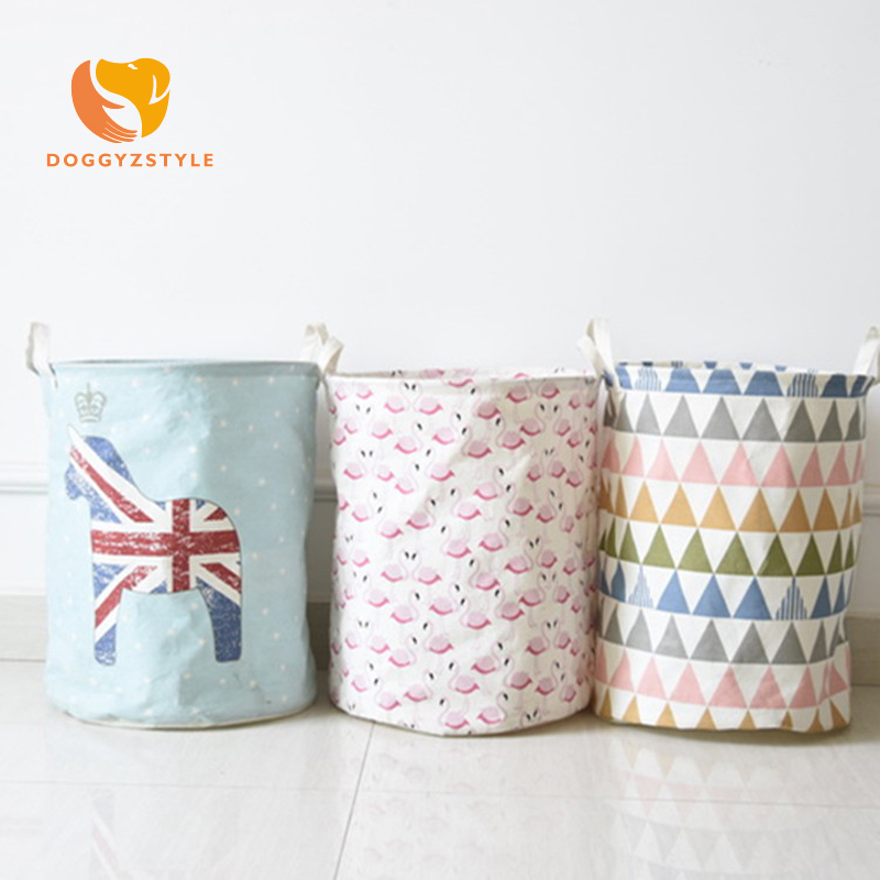 DOGGYZSTYLE Cotton Linen Foldable Bathroom Dirty Clothes Large Laundry Storage Buckets Bags Kids Toy Storage Basket 4 colors