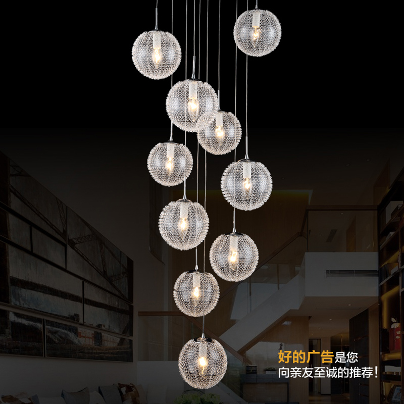 American country retro light European luxury garden dining room Pendant Lights style villa staircase aluminum ball pendant lamps tiffany mediterranean dining room pendant lamps european style simple triple staircase modern living room lamp pendant lights
