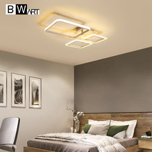 LOFAHS Modern LED chandelier lighting for living dining room bedroom Home Office Study White Remote Large Ceiling chandelier lamp