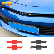 HANGUP Carbon Fiber Stickers Car Front Rear Cross Emblem Decoration Stickers For Chevrolet Camaro 2017 Up Car Styling hangup aluminum car door audio speaker net decoration cover trim stickers for chevrolet camaro 2017 up car styling