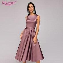 S.FLAVOR vintage style knee-length dress 2018 Summer fashion sleeveless elegant A-line vestidos with belt party short dress