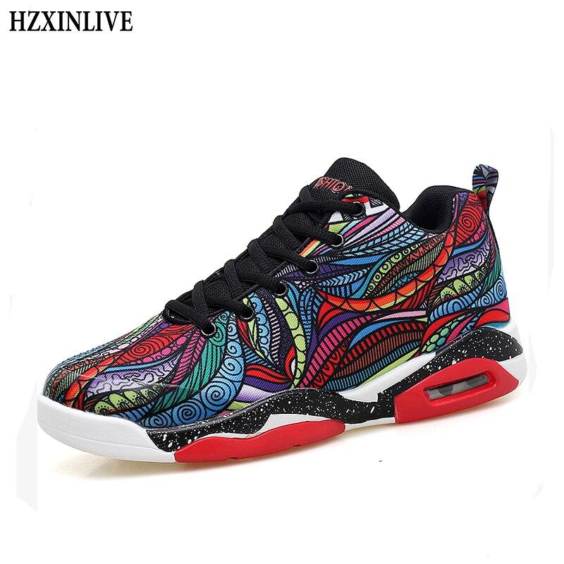 HZXINLIVE/женские кроссовки на платформе; дышащая модная повседневная пара; граффити; тотемные ботильоны; амортизация; уличные кроссовки