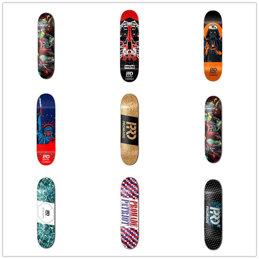 NEW Quality 8.258.125 3D emboss designed USA Promade skateboard decks made by full Canadian maple better for Pro sk8er to use 8 inch new arrived chocolate decks simple logo pattern made by canadian maple wood shape skateboard deck for pro sk8er