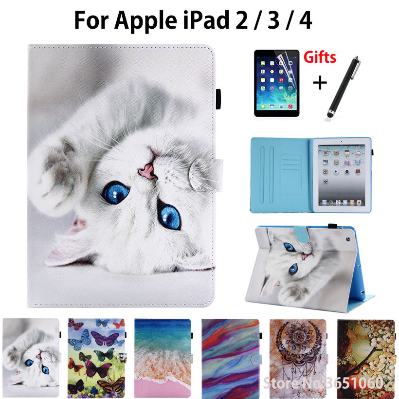 Cartoon Cat Case For Apple iPad 2 3 4 Cover Funda Tablet Silicone PU Leather For iPad2 iPad3 iPad4 Stand Skin Shell +Stylus+film стоимость