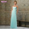 Cheap Mint Chiffon Bridesmaid Dresses Long Wedding Party Dress Strapless Zipper Back Floor Length Plus Size Custom Made