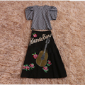HIGH QUALITY Newest 2017 Designer Runway Suit Set Women's Puff Sleeve Plaid Blouse Top Sequin Beading Embroidery Skirt Set