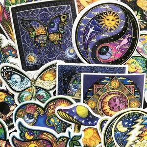 Image 4 - AQK 25 adet/grup renkli güneş ay isteyen dünya barış çıkartmalar Boho tarzı Bohemian Sticker kaykay bagaj Laptop gitar araba