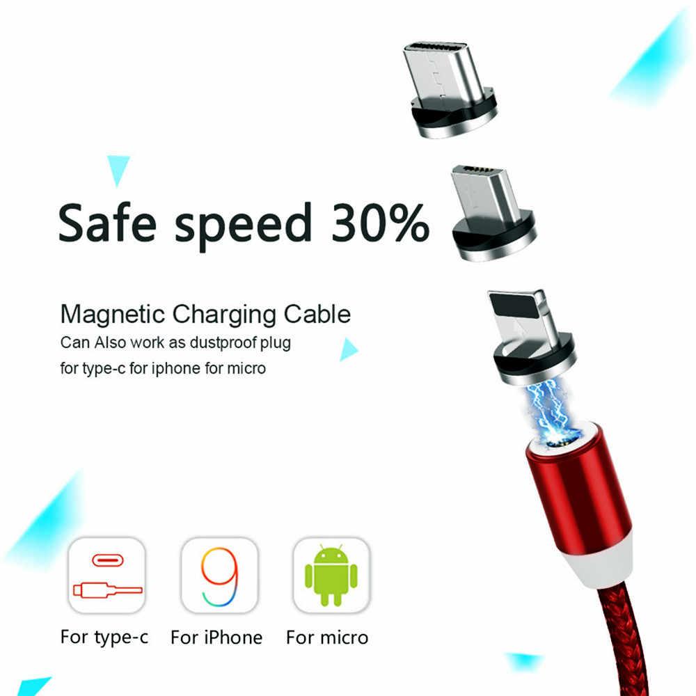 Kabel Lampu 2.4A Biaya Cepat Kabel Micro USB Tipe C Magnet Charger 1M Dikepang Kabel Telepon untuk iPhone XS Samsung Kawat