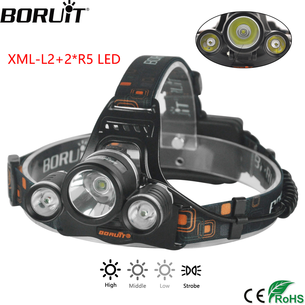 BORUiT RJ-3001 4000LM Head Torch XM-L2 R5 LED Headlight 4-Mode Headlamp Hunting Camping Flashlight by 18650 Battery boruit xm l2 led headlamp zoom flashlight 4 mode rechargeable headlight portable camping hunting head lamp torch 18650 battery
