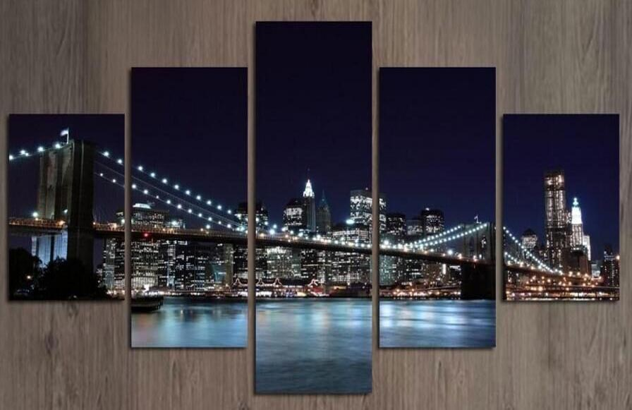 Abstract Canvas Prints Canvas Painting Modern Decorative Art Picture New York Bridge City Wall Paintings FRAMED C1-100 (70) image