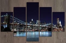 Abstract Canvas Prints Canvas Painting Modern Decorative Art Picture  New York Bridge City Wall Paintings FRAMED C1-100 (70)