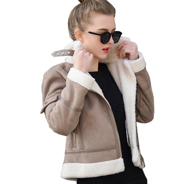 2017 дубленки из овчины женские толстые замшевые куртки Осенне-зимняя Дамская обувь из овечьей шерсти Короткие мотоциклетные пальто UV3001
