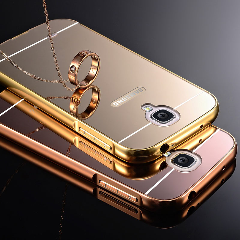 low priced 406ad 614a8 US $6.65 |Coque S4 Gold Plating Aluminum Metal Frame Case For Samsung  Galaxy S4 i9500 Mirror Acrylic Back Cover Fundas Luxury Accessories on ...